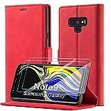 xinyunew Schutzhülle für Samsung Galaxy Note 9 Hülle, Leder Flip Wallet Schutzhülle, Magnetverschluss Leder Flip Schutzhülle Lederhülle für Samsung Galaxy Note 9 Hülle (Rot)