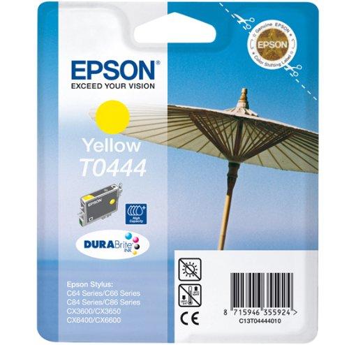 Epson Cartucho T0444 Amarillo Alta Capacidad - Cartucho de Tinta para impresoras (Amarillo, 13 ml, Stylus C64/66, 24,6 cm, 11,6 cm, 14,5 cm) Si