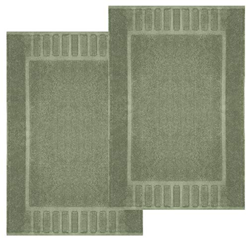White Classic Luxury Bath Mat Floor Towel Set - Absorbent Cotton Hotel Spa Shower/Bathtub Mats [Not a Bathroom Rug] 22'x34'   2 Pack   Green