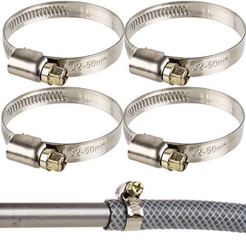 Asa de manguera profesional, accionamiento de gusano, rango sujeción 32 - 50 mm, paquete de 4, acero W2, hueco cruzado, ancho de banda 9 mm, conexión lavadora a sifón fijo, asas de lavavajilla