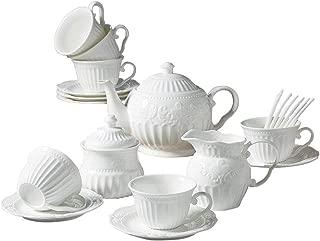 15 Pieces Simple European Ceramic Coffee Tea Sets,Bone China Afternoon Tea Set,Service Coffee Set with Spoons