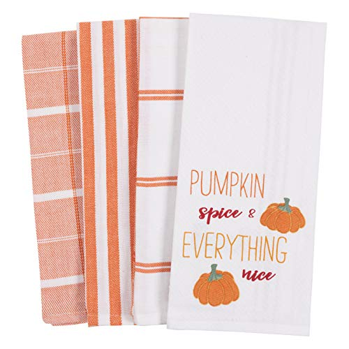 KAF Home Pantry Kitchen Holiday Dish Towel Set of 4, 100-Percent Cotton, 18 x 28-inch (Pumpkin Spice Everything Nice)