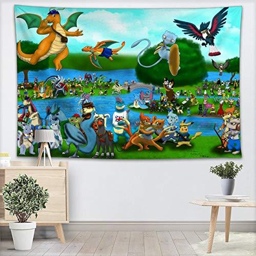 ahjs456 Tapisserie Murale Pokemon Tapisseries Tenture Murale Pièce De Spectacle pour La Décoration Intérieure Tapis Mural Plage Jeter Tapis Couverture Tapis De Yoga 140x200cm 13