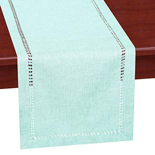 Grelucgo Handcrafted Solid Color Dining Table Runner, Dresser Scarf, Double-Hemstitched (Aqua, 14 x 108)