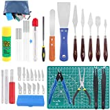 Glarks 40Pcs 3D Printer Removal Cleaning Tool Kit, Including Needle Nose Plier, Tweezers, Filing Tool, Cleaning Needles, Glue Stick, Cutting Mat, Knife Clean Up Kit to Remove, Clean, Finish 3D Print