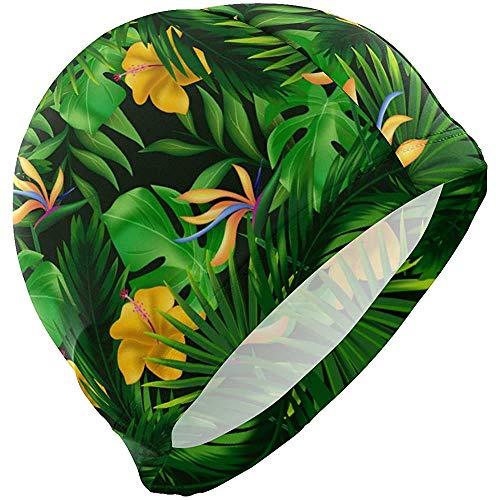 Bonnets de Bain Tropical Vert Palmier Exotique Bonnet de Bain Chapeau de Bain Douche Douche Cheveux Couverture pour Adulte Hommes Jeunes garçons