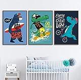 SHINERING Dinosaure Vélo Surf Ours Crocodile Citations Mur Art Toile Peinture Nordic Affiches Et Gravures Mur Photos Enfants Chambre Décor sans Cadre