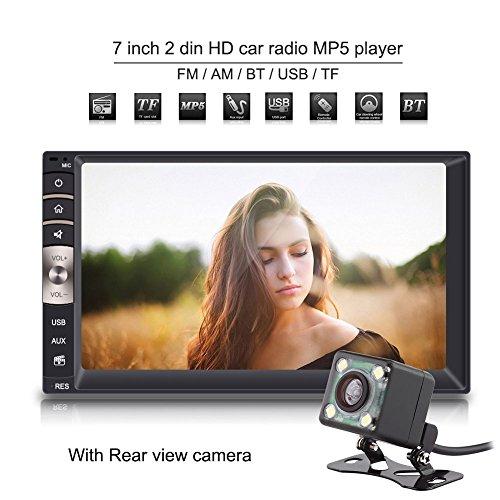 Qiilu Universal 7\'\' 2 Din Bluetooth USB/TF FM Aux Eingang Auto Radio MP5 Spieler mit Rückfahrkamera