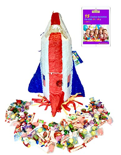Filled Ya Otta Pinata Space Shuttle Mexican Style Party Supplies Bundle with 2 pounds of Piñata Candy Filler and an eBook on Activities for Kids Birthday Parties
