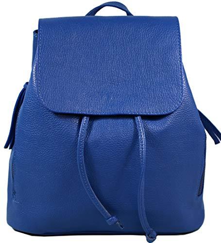 Ital. Echtleder Damen Rucksack Leichter Tagesrucksack Daypack Lederrucksack Damenrucksack versch. Farben erhältlich R01 (Blau)