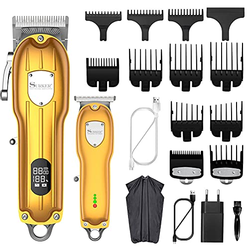 SURKER Cortadora de pelo Profesional Cortapelos para hombres Recortadora Barba Kit Máquina de cortar cabello Inalámbrico LED Recargable USB