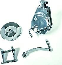 Sbc Chevy Chrome Saginaw Style Power Steering Pump W/Bracket & Chrome Pulley