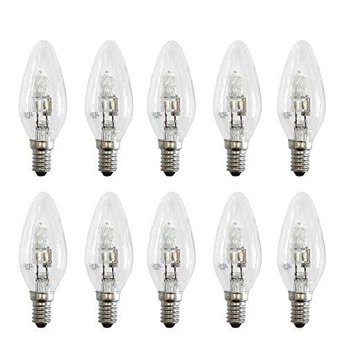 10 x Eco Halogen Kerze Glühbirne 42W = 60W E14 Glühlampe Kerzen 2000h warmweiß 2700K dimmbar (42 Watt)