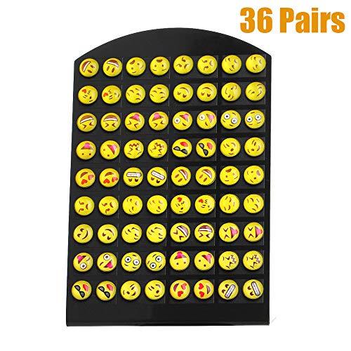 Tpocean - Juego de 36 pares de pendientes faciales de resina amarilla con diseño de emoticonos