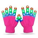 Cool Toys for 3-12 Year Old Boys, Touber Flashing Led Gloves for Kids Boys Girls Led Finger Gloves Best Popular Birthday Halloween Christmas Xmas Gifts for 3-12 Year Old Boys Girls