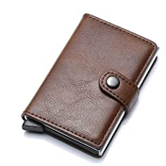💳【High Quality Material】- Card case wallet is made of good aluminium and leather. Outer leather offers comfort to the hand and pocket, and inside steel provides ultimate protection and privacy for your cards (RFID Blockage). The wallets are sturdy, w...