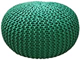 ZCM Pouf Ottoman Round,Handmade Knit Bean Bag Floor Chair Hand Stitched Footstool Great for The Living Room Bedroom and Kids Room(Color:Green,Size:50x50x30cm(20x20x12inch))