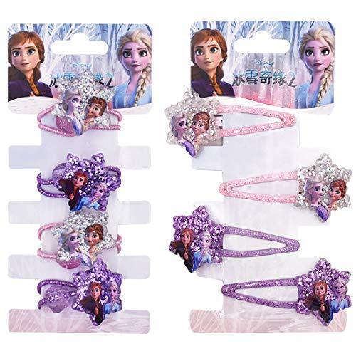 YUESEN Haarspange Haarring Eiskönigin 8PCS Haarspangen Haarring Kinderschmuck Haarschmuck Eiskönigin Frozen Schmuckset für Kinder Exquisite Cartoon Schleife für Geburtstag Geschenk
