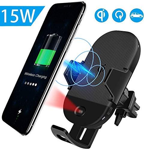 Evershop 15W Wireless Car Charger, Auto Kabellose Handyhalterung KFZ Induktive Ladestation Autolade für iPhone 11/Pro/XS/8/8 Plus,Fast Qi Autohalterung für Samsung Galaxy S10/S9/Note 8/S8/S7 usw