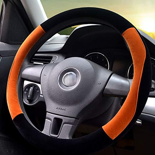 Couverture De Volant De Voiture Chaud Doux Peluche Enjoliveur De Roue Respirant Confortable Four Seasons Universal -37-39Cm,Orange
