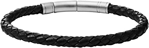 Fossil Homme Bracelet noir en cuir tressé JF00510797