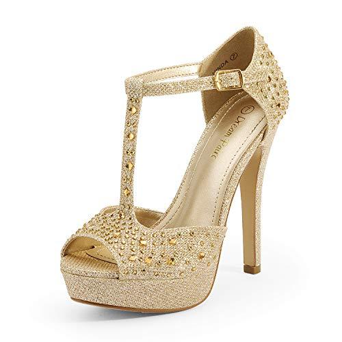 DREAM PAIRS Women's Gold T-Strap Wedding Stiletto High Heel Dress Pumps Shoes Size 8 M US Hinda