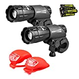 HeroBeam® Double Bike Lights Set - The Ultimate Lighting and Safety Pack of Super Bright Front Bicycle Lights and Rear Lights - INCLUDES ALL BATTERIES - UK COMPANY & 5 YEAR WARRANTY