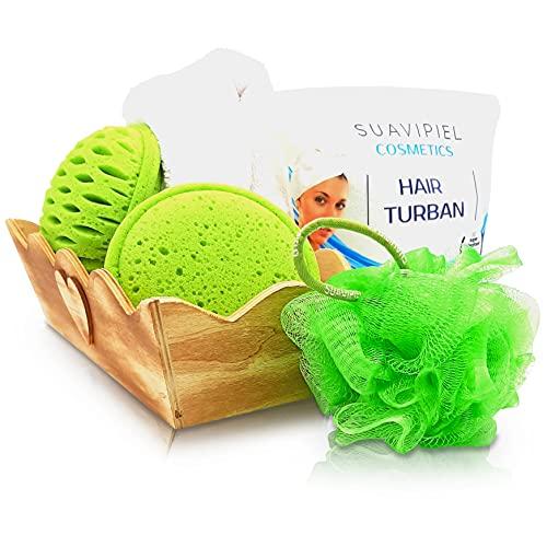 Set Esponjas ecológicas de baño y ducha exfoliante corporal flor malla suave + Toalla para la cabeza Turbante + Cesta Baño.