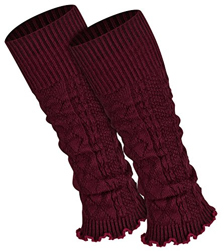 Piarini 1 Paar Bein Stulpen Damen - warme Beinstulpen Strick - weinrot