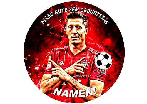Lewandowski Bayern Munchen NEON Geburtstags personalisierter Name 8-Zoll-runder Zuckerglasurdeckel Lewandowski Bayern Munchen NEON Personalized Name 8 Inch Round Frosting Topper