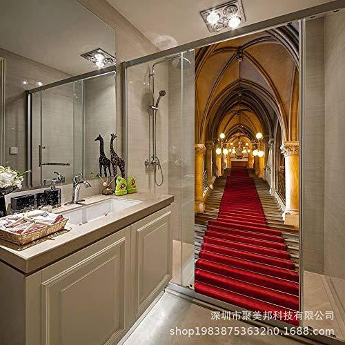 Tür Aufkleber PVC-Modern Fashion Imitation 3D Stereo Kreativen DIY-Roten Teppich Treppenhaus Dekorative Wohnzimmer Schlafzimmer Büro Türblatt Wasserdicht Abnehmbare