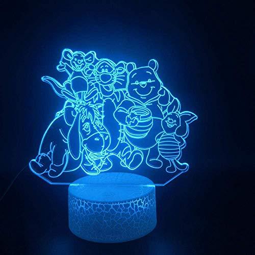 Lampe 3D Ourson Et Ses Amis Dessin Animé Meilleur Cadeau Pour Enfants Atmosphère Base Lumineuse Hologramme Led Lampe De Lumière De Nuit