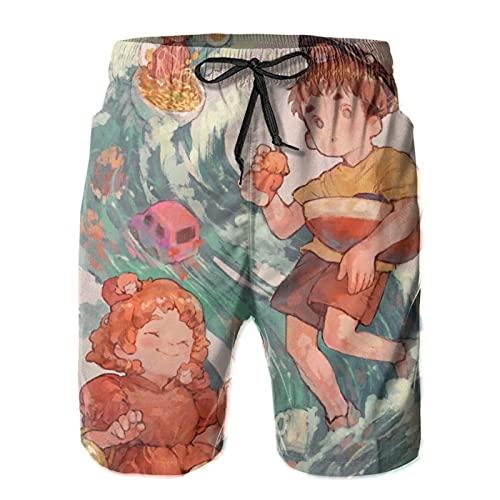 Inaayayi Po-Ny-O - Pantalones cortos de playa para hombre, estilo informal, pantalones cortos clásicos de baño de secado rápido, con múltiples bolsillos y forro de malla