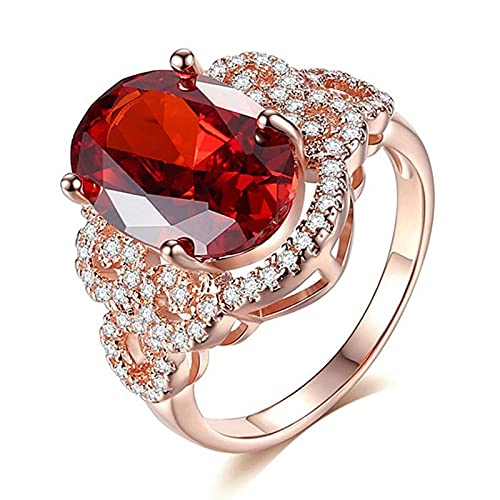 HCMA Anillos de Plata clásicos para Mujer con Piedras Preciosas de rubí de Forma Ovalada, Encanto de Color Oro Rosa, Regalo de joyería para Mujer