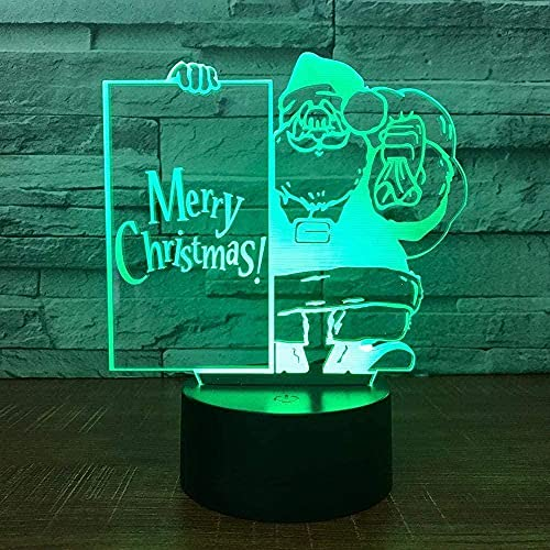 Lonfencr Table Lamp with USB Power Cable Santa Claus Optical Illusion Desk Lamp 16 Color for Kids Bedroom USB Power with Remote