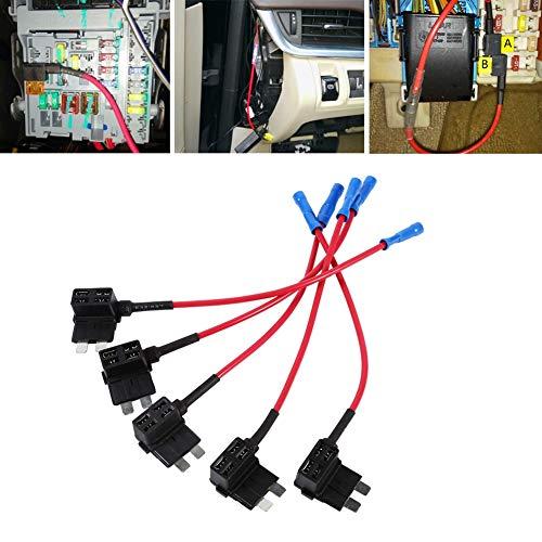 Fusible automotriz, protección para cada circuito portafusibles, 5 piezas duradero para kits de teléfono Kits de bloqueo central Consolas de juegos Luces auxiliares