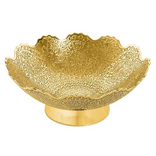 Zap Impex  Ottone Decorativi secca Ciotola di Frutta Carving Lavoro–Dimensione di 9Bella d' Oro Colore Pavone Design Cucina stoviglie Regalo