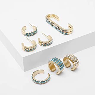 Masiter Rhinestone Hoop Earrings Huggie Crystal Earring Cuff 8pcs Brida Party Body Jewelry Accessories for Women and Girls