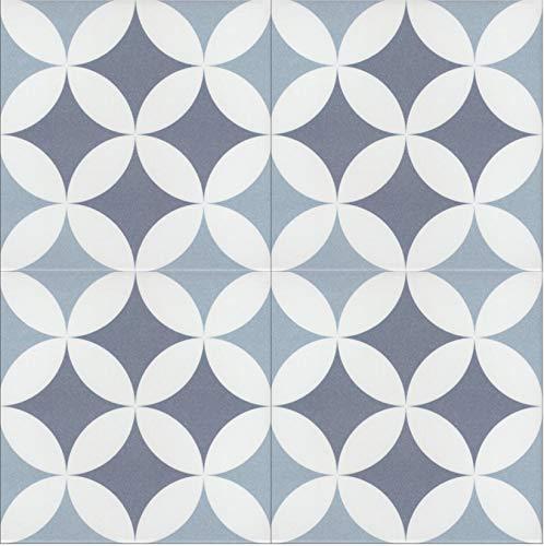 Casa Moro Mediterrane Fliesen Amara 20x20 cm 1 qm aus Feinsteinzeug in Zementoptik mit Kreis-Muster | Orientalische Bodenfliesen & Wandfliesen für schöne Küche Flur Bad & Küchenrückwand | FL7011