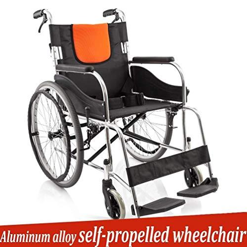 Silla de ruedas autopropulsada plegable ligera Las personas mayores autopropulsadas de ruedas, aleación de aluminio Fold Luz portátil de viaje Movilidad silla de ruedas de la carretilla for discapacit