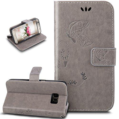 Funda para Galaxy S7 Edge, funda de piel sintética con diseño de mariposas, de ikasus, de piel sintética, plegable, con función atril, tarjetero para Samsung Galaxy S7 Edge, color gris