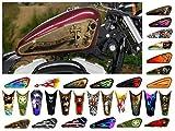 East Coast Vinyl Werkz Motorcycle Gas Tank Decals/Sets - for Harley Davidson Sportster Honda Shadow Suzuki Kawasaki Indian Yamaha (Dusty Skulls w/Cross - 2pc Side Tank Decals)