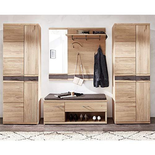 Lomadox Landhaus Garderobenmöbel Set aus massiver Wildeiche, mit Baumkantenprofil, 2 Dielenschränke, Sitzbank, Paneel und 2 Spiegel