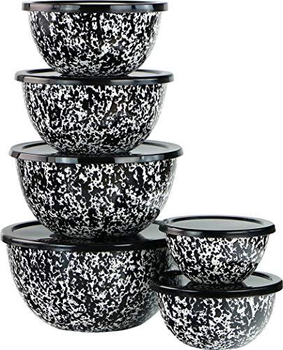 Reston Lloyd 12pc Set, Food Storage, Serving, Air Tight Lids, Enamel Bowls, Marble, Black