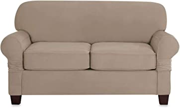 Sure Fit Designer Suede Individual Cushion Love Seat Slipcover in Linen
