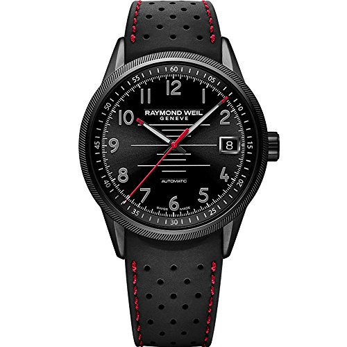 RAYMOND WEIL MEN'S FREELANCER PILOT 42MM BLACK AUTOMATIC WATCH...
