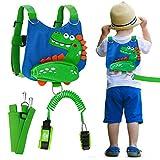 Lehoo Castle Toddler Leash for Walking, Safety Leashes for Toddlers 4-in-1, Kid Leashes for Boys, Child Safety Leash Anti Lost Wrist Link (Dinosaur Blue)