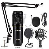 ZINGYOU Microfono de Condensador Kit, BM-800 Micro Set Estudio Profesional, Micrófono Escritorio con Pie&Brazo para PC,Grabar,Gaming,Podcast(Negro)