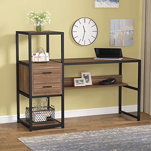 Tribesigns Rustic 55 Inches Computer Desk with 2 Drawers and Bookshelf, Industrial Office Desk Study Table Writing Desk Workstation with Hutch and 4 Storage Shelves for Home Office (Rustic Walunt)