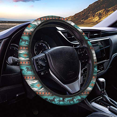 chaqlin Auto Car Steering Wheel Cover Car Interior Protector Wheel Protector for Women Lady,Universal 15 inch Non-Toxic Aztec Dreamcatcher Horse Print Native American Pattern